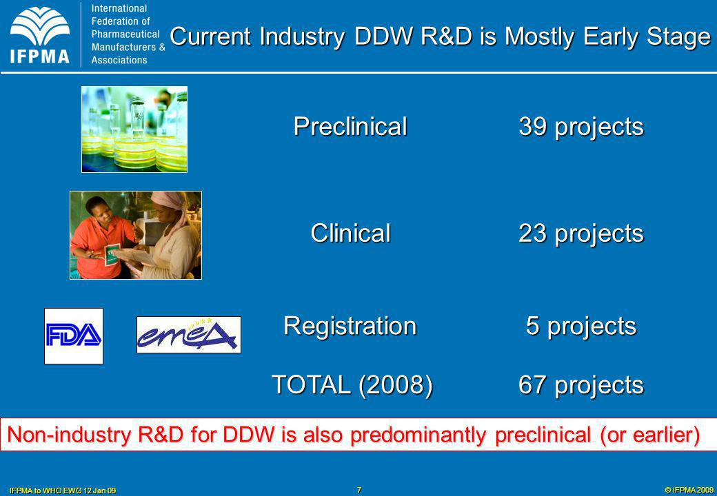 © IFPMA 2009 IFPMA to WHO EWG 12 Jan 09 8 Factors for Increased DDW R&D Large Scale Donor Funding for Access Product Development Partnerships Increased Not-for-Profit R&D Work