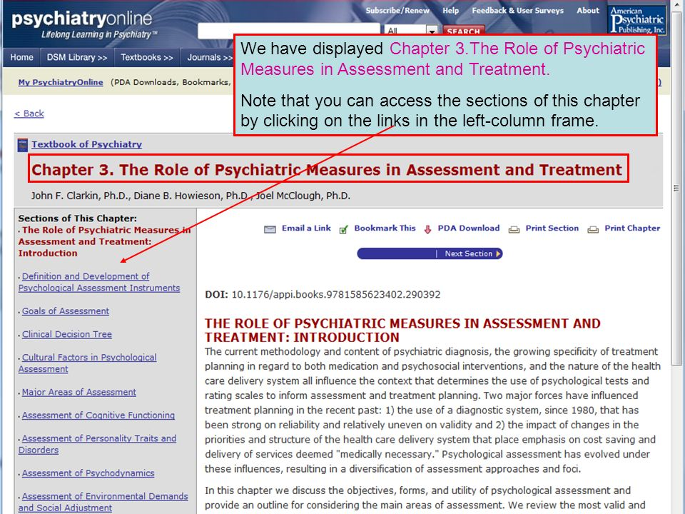 We have displayed Chapter 3.The Role of Psychiatric Measures in Assessment and Treatment.