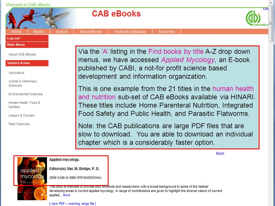 Via the A listing in the Find books by title A-Z drop down menus, we have accessed Applied Mycology, an E-book published by CABI, a not-for profit science based development and information organization.