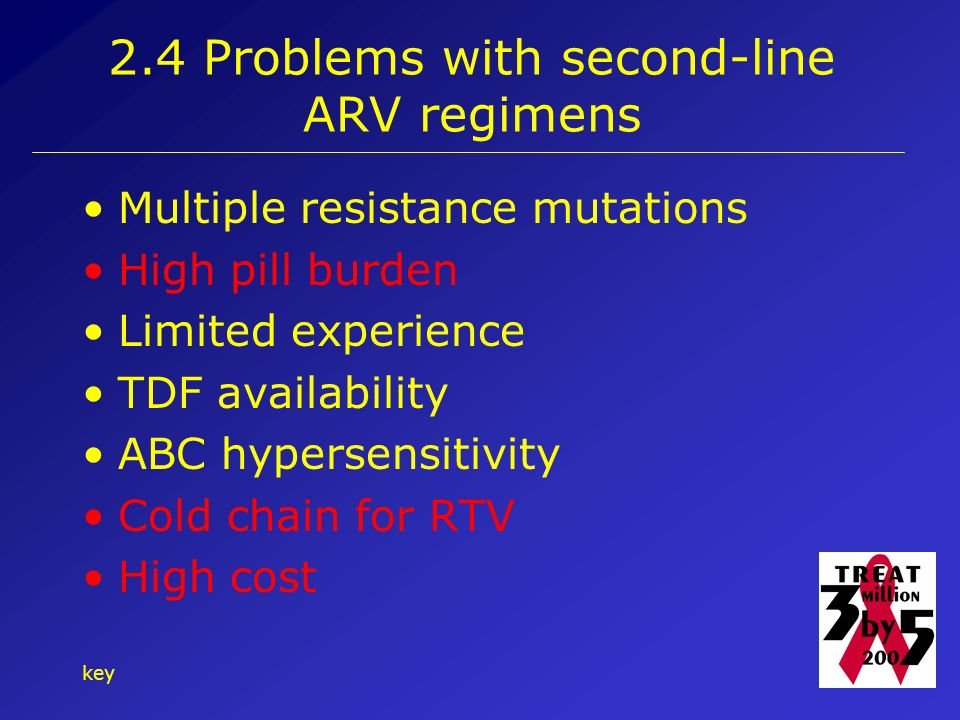 key Problems with second-line ARV regimens Multiple resistance mutations High pill burden Limited experience TDF availability ABC hypersensitivity Cold chain for RTV High cost