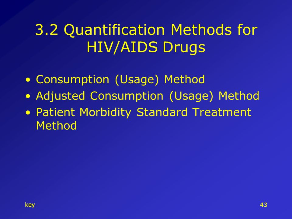key Quantification Methods for HIV/AIDS Drugs Consumption (Usage) Method Adjusted Consumption (Usage) Method Patient Morbidity Standard Treatment Method