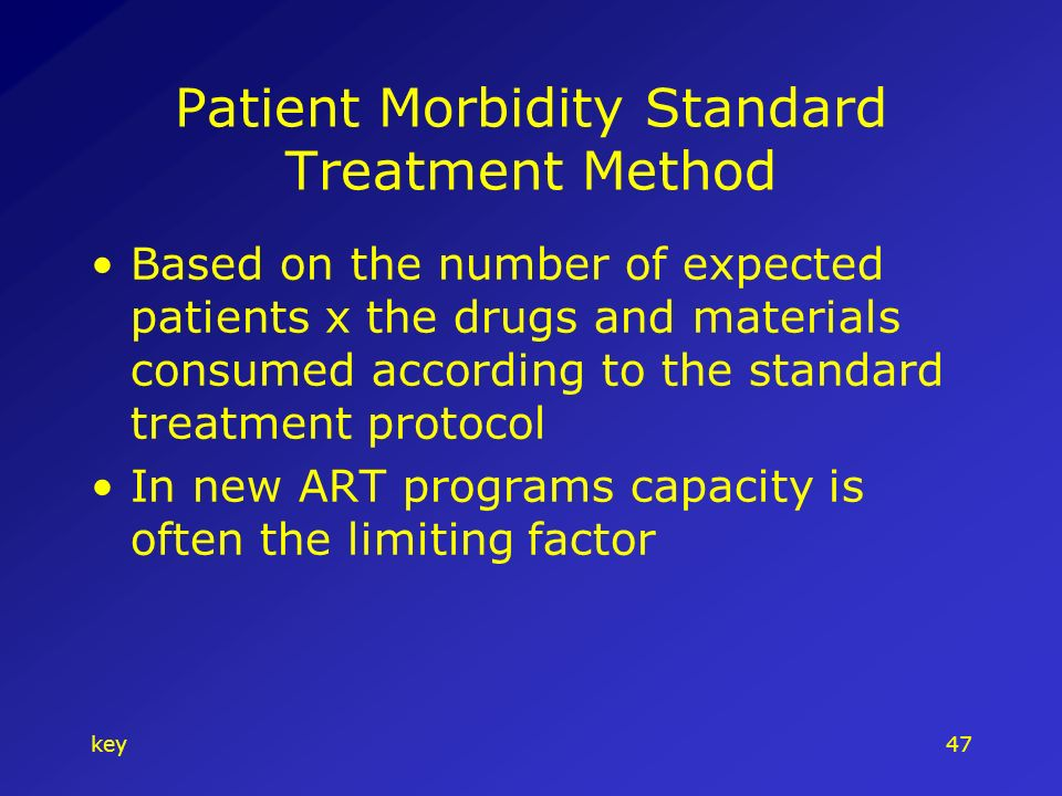 key47 Patient Morbidity Standard Treatment Method Based on the number of expected patients x the drugs and materials consumed according to the standard treatment protocol In new ART programs capacity is often the limiting factor