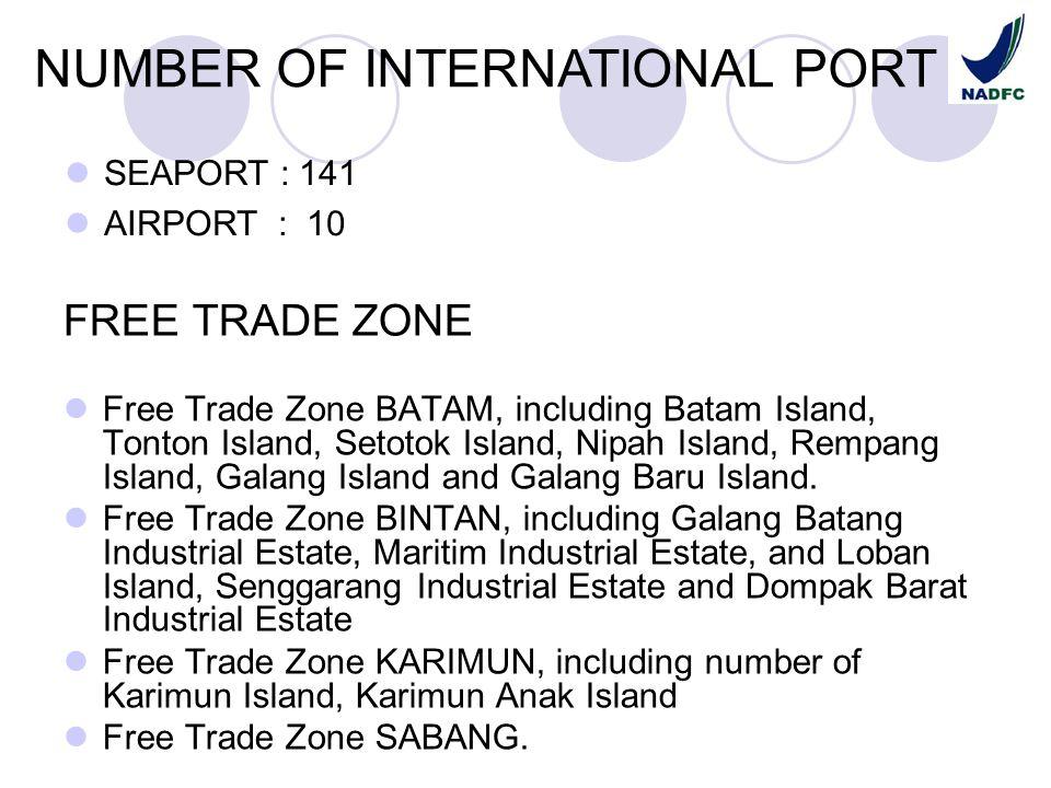 FREE TRADE ZONE Free Trade Zone BATAM, including Batam Island, Tonton Island, Setotok Island, Nipah Island, Rempang Island, Galang Island and Galang B