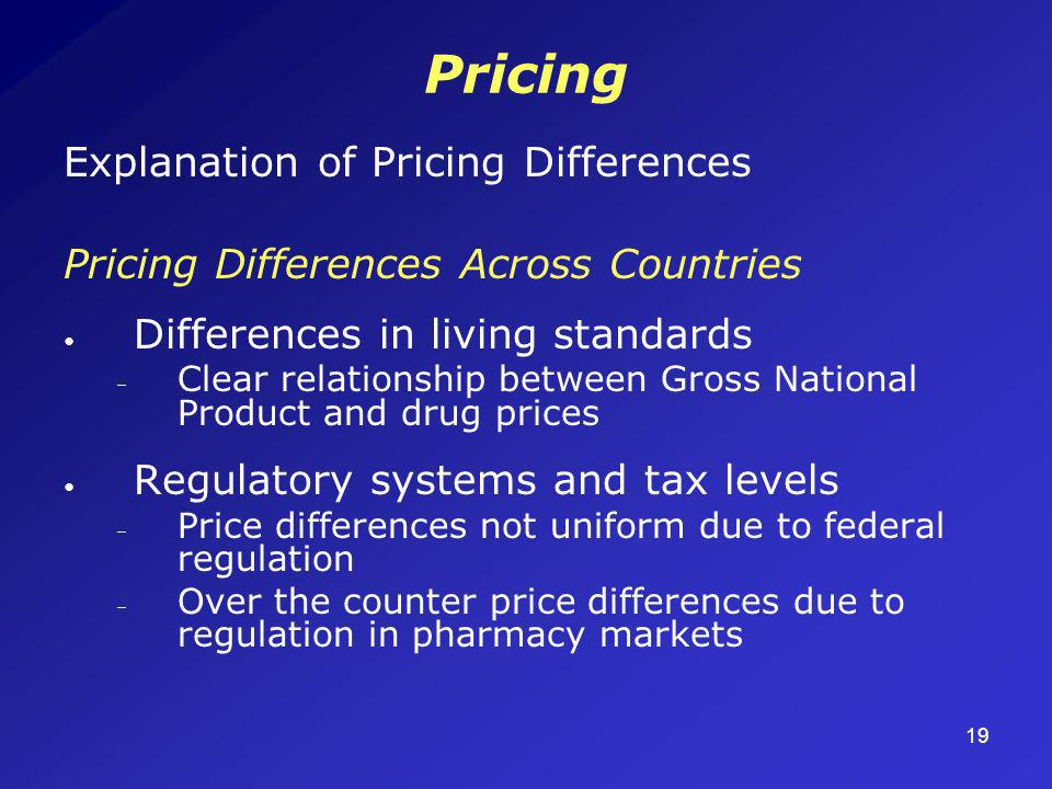 19 Pricing Explanation of Pricing Differences Pricing Differences Across Countries Differences in living standards – Clear relationship between Gross