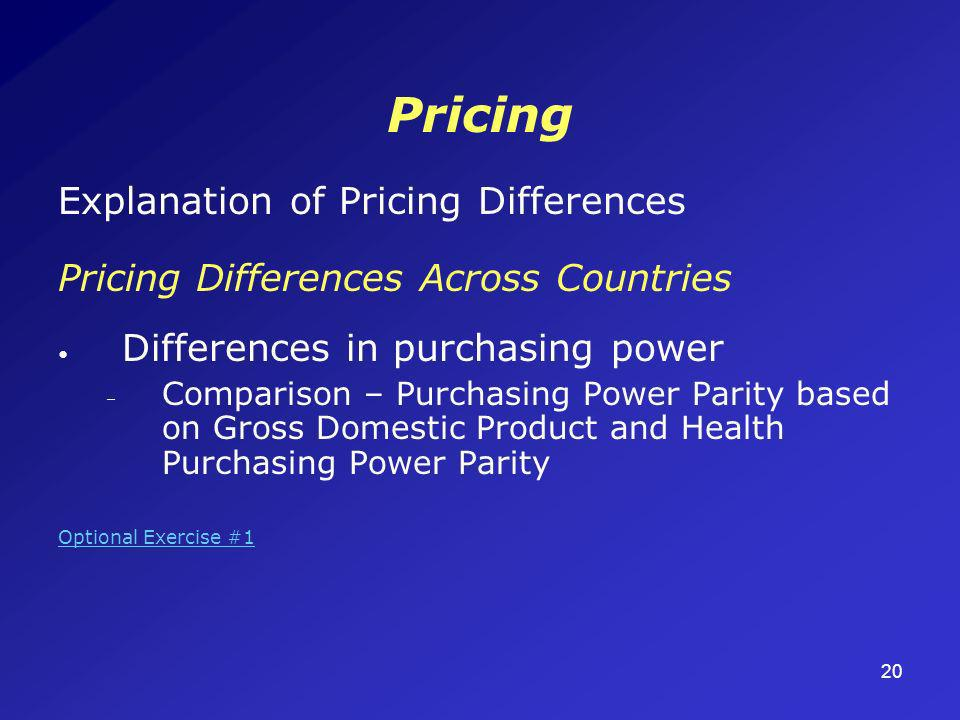 20 Pricing Explanation of Pricing Differences Pricing Differences Across Countries Differences in purchasing power – Comparison – Purchasing Power Parity based on Gross Domestic Product and Health Purchasing Power Parity Optional Exercise #1