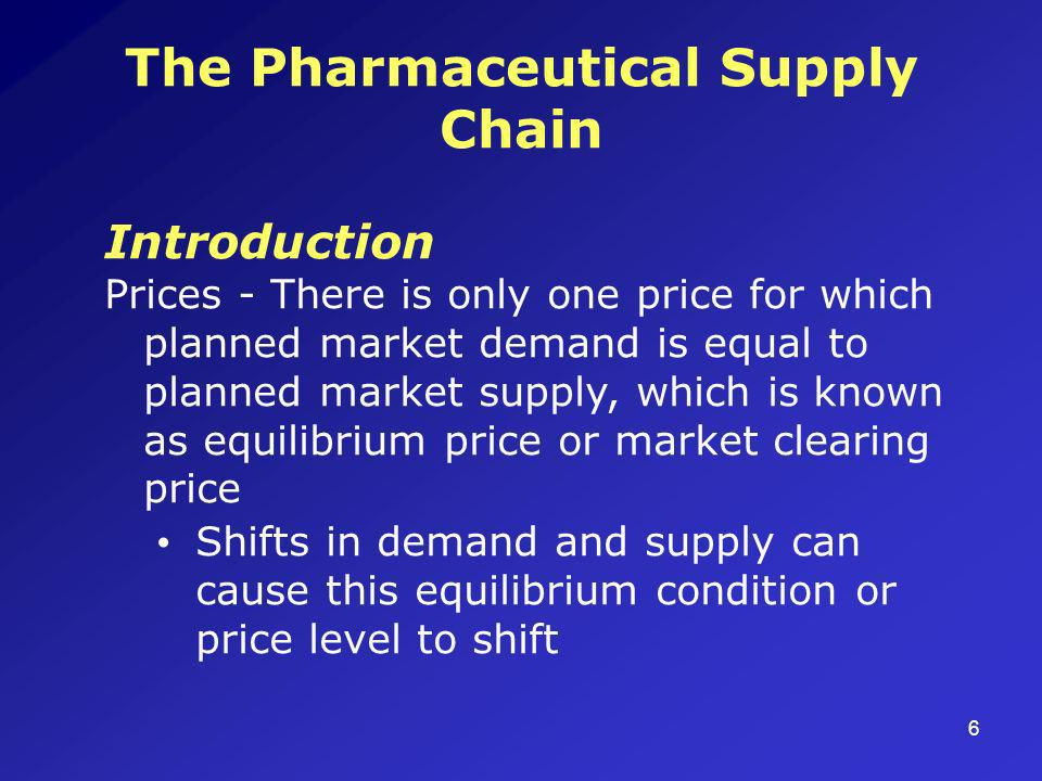 6 The Pharmaceutical Supply Chain Introduction Prices - There is only one price for which planned market demand is equal to planned market supply, which is known as equilibrium price or market clearing price Shifts in demand and supply can cause this equilibrium condition or price level to shift