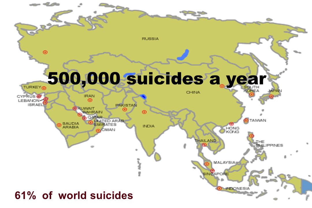 500,000 suicides a year 61% of world suicides