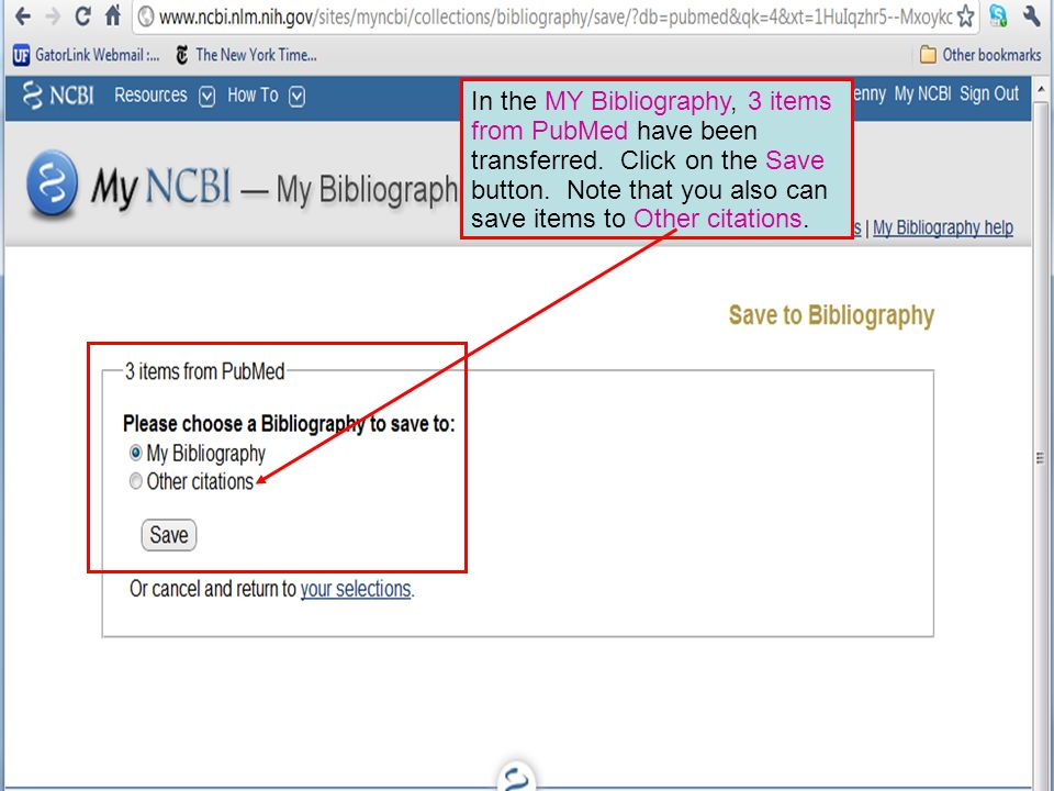 In the MY Bibliography, 3 items from PubMed have been transferred.