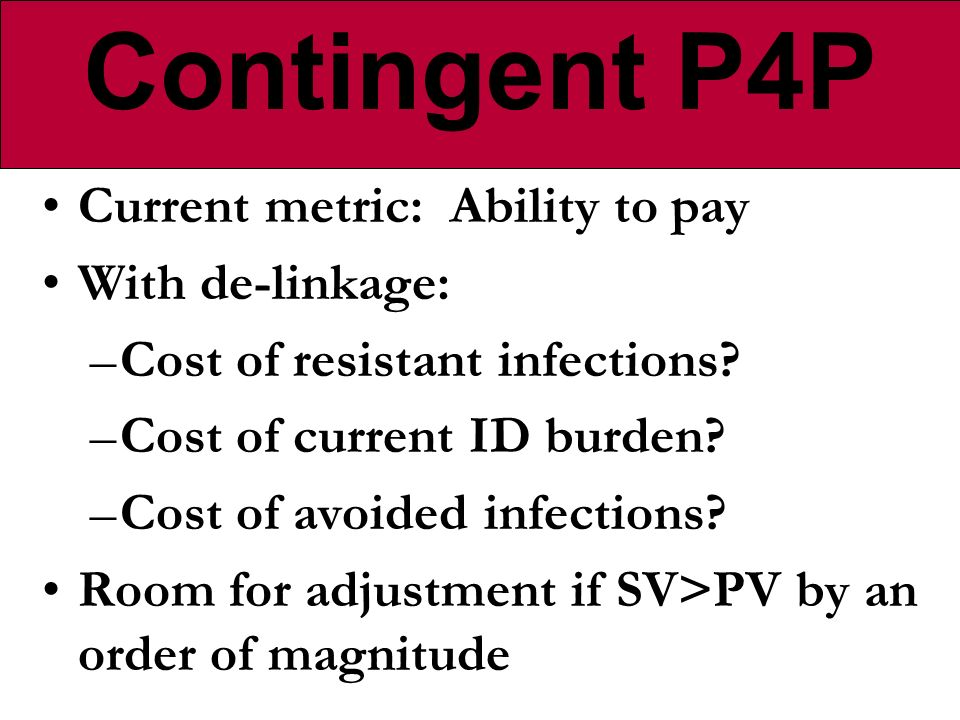 Current metric: Ability to pay With de-linkage: –Cost of resistant infections.
