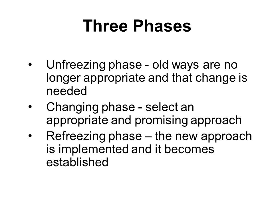 Three Phases Unfreezing phase - old ways are no longer appropriate and that change is needed Changing phase - select an appropriate and promising appr