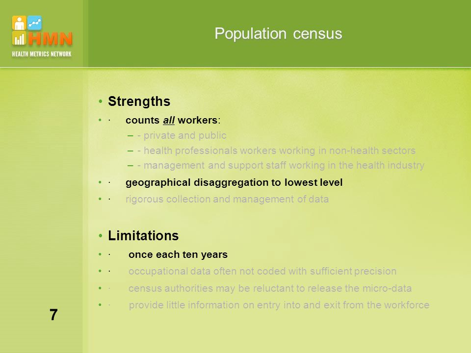 Population census Strengths · counts all workers: –- private and public –- health professionals workers working in non-health sectors –- management an
