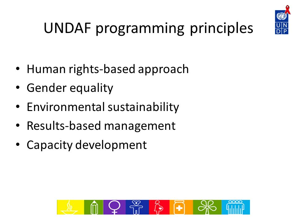UNDAF programming principles Human rights-based approach Gender equality Environmental sustainability Results-based management Capacity development