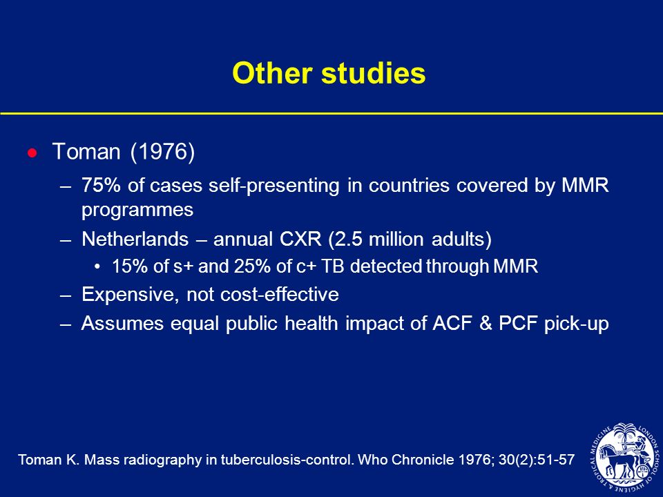 Other studies l Toman (1976) –75% of cases self-presenting in countries covered by MMR programmes –Netherlands – annual CXR (2.5 million adults) 15% o