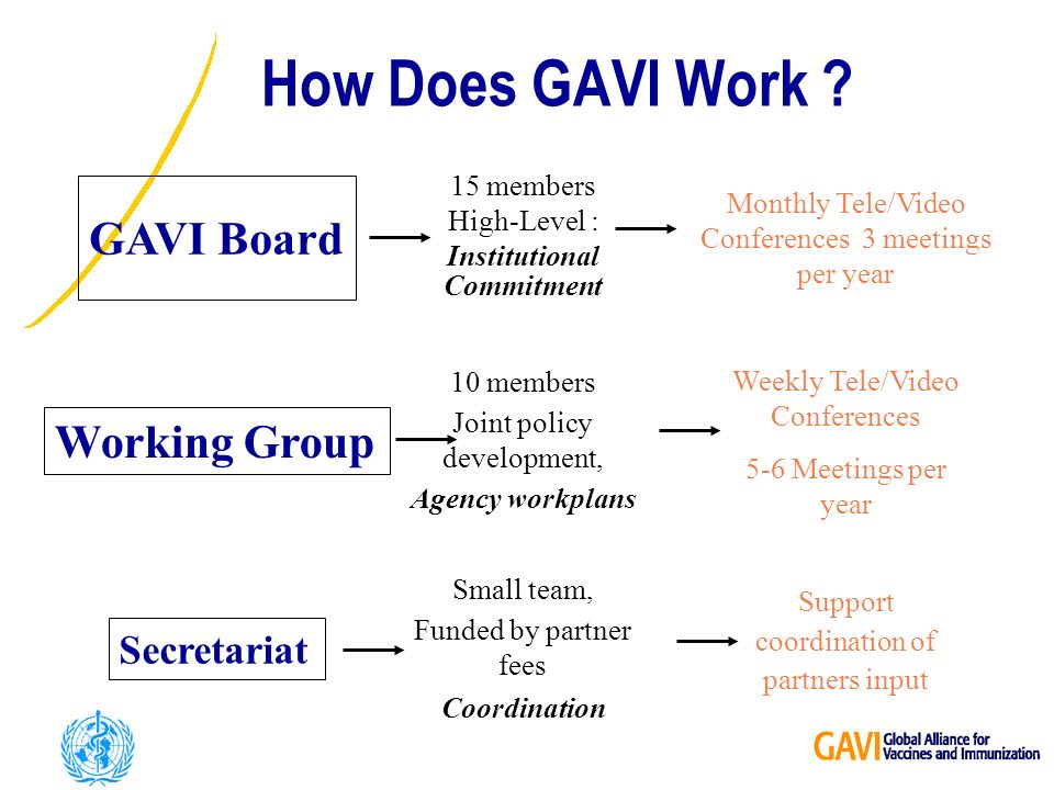 GAVI Board 15 members High-Level : Institutional Commitment Working Group Secretariat Monthly Tele/Video Conferences 3 meetings per year Weekly Tele/Video Conferences 5-6 Meetings per year 10 members Joint policy development, Agency workplans Small team, Funded by partner fees Coordination Support coordination of partners input How Does GAVI Work