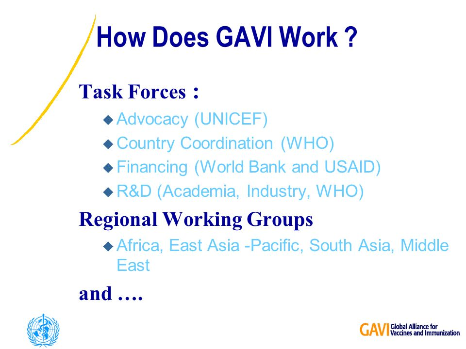 Task Forces : u Advocacy (UNICEF) u Country Coordination (WHO) u Financing (World Bank and USAID) u R&D (Academia, Industry, WHO) Regional Working Groups u Africa, East Asia -Pacific, South Asia, Middle East and ….