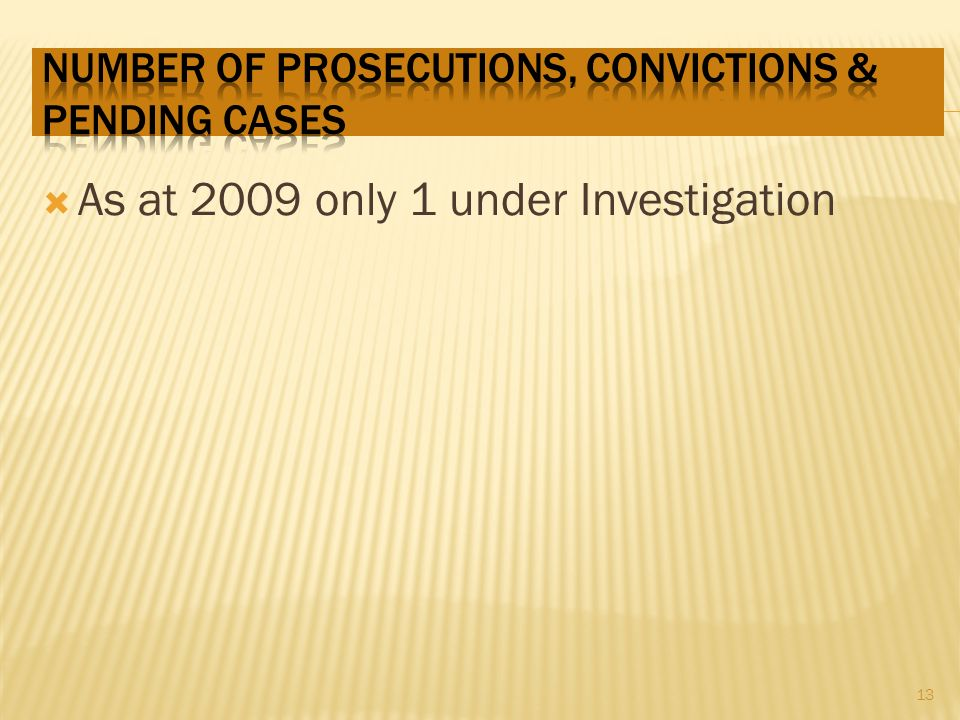 As at 2009 only 1 under Investigation 13