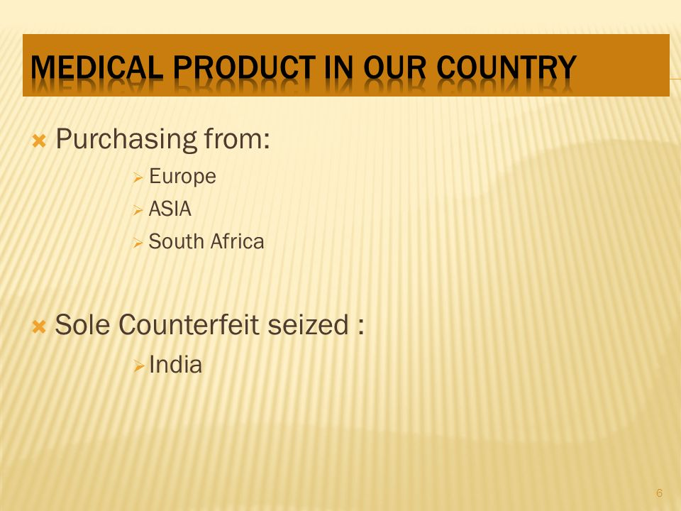 Purchasing from: Europe ASIA South Africa Sole Counterfeit seized : India 6
