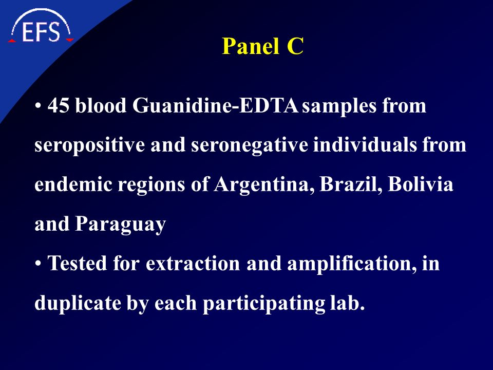 Panel C 45 blood Guanidine-EDTA samples from seropositive and seronegative individuals from endemic regions of Argentina, Brazil, Bolivia and Paraguay