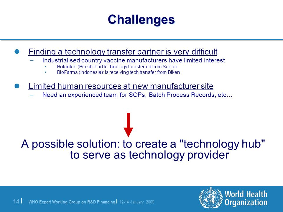 WHO Expert Working Group on R&D Financing | 12-14 January, 2009 14 | Challenges Finding a technology transfer partner is very difficult –Industrialised country vaccine manufacturers have limited interest Butantan (Brazil): had technology transferred from Sanofi BioFarma (Indonesia): is receiving tech transfer from Biken Limited human resources at new manufacturer site –Need an experienced team for SOPs, Batch Process Records, etc… A possible solution: to create a technology hub to serve as technology provider
