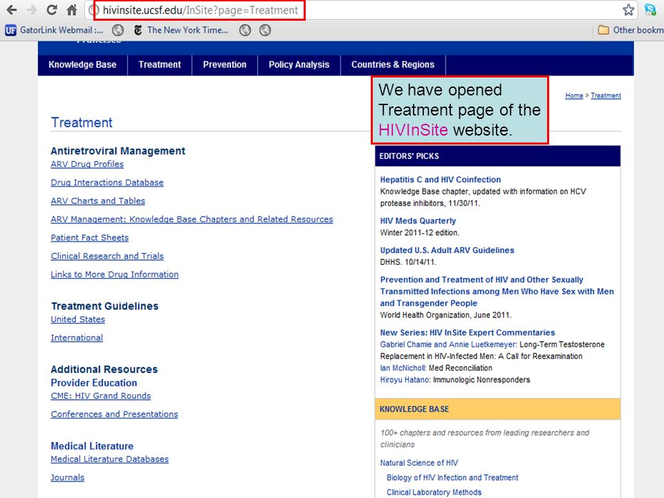 We have opened Treatment page of the HIVInSite website.