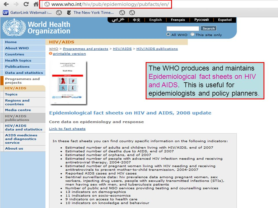 The WHO produces and maintains Epidemiological fact sheets on HIV and AIDS.