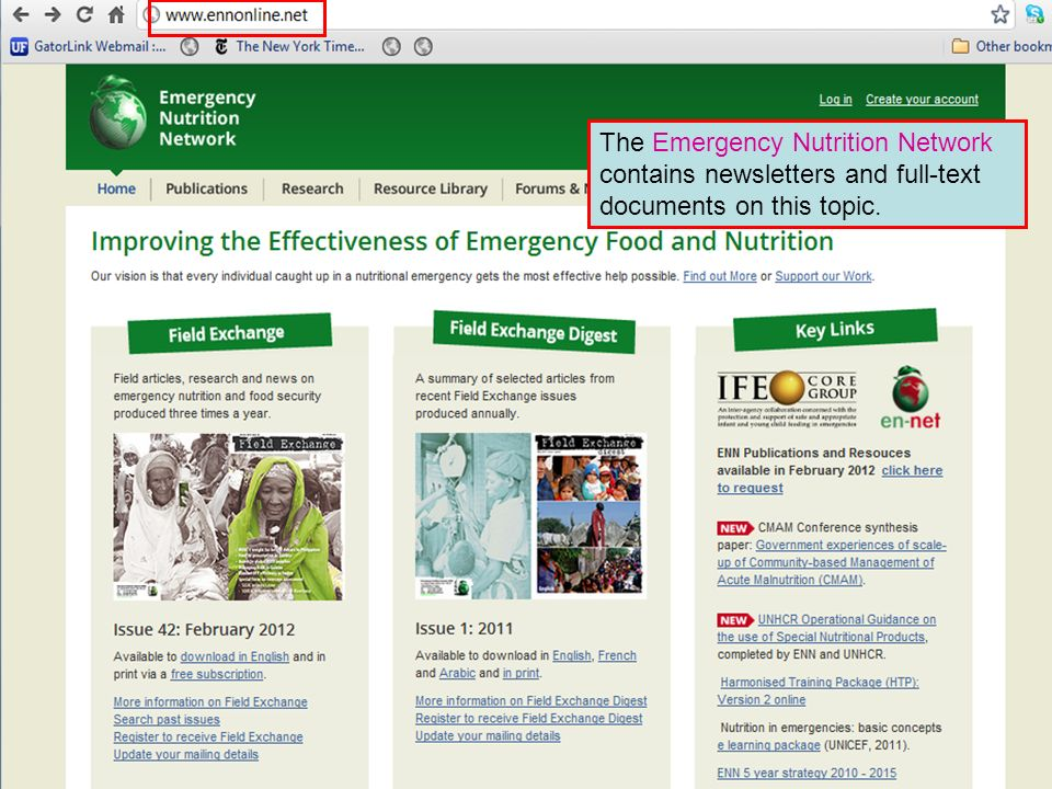 The Emergency Nutrition Network contains newsletters and full-text documents on this topic.