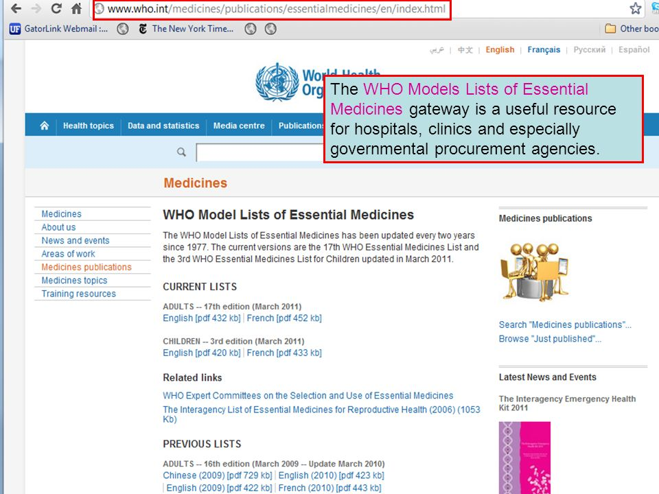 The WHO Models Lists of Essential Medicines gateway is a useful resource for hospitals, clinics and especially governmental procurement agencies.