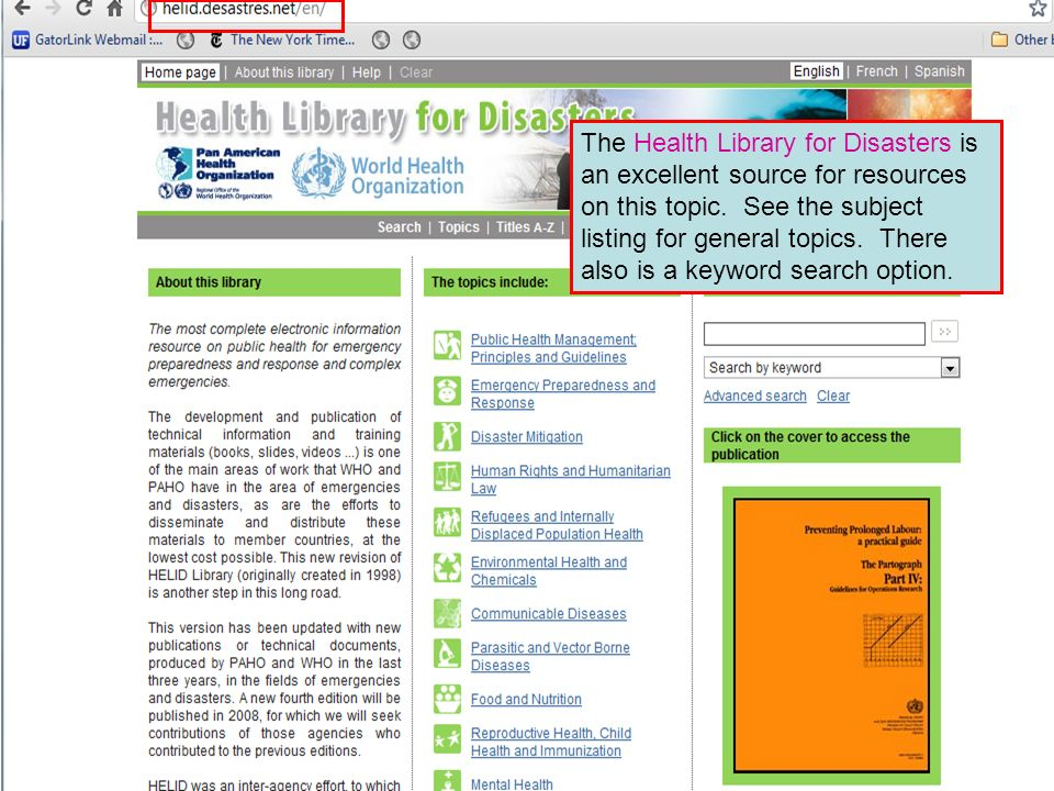 The Health Library for Disasters is an excellent source for resources on this topic. See the subject listing for general topics. There also is a keywo