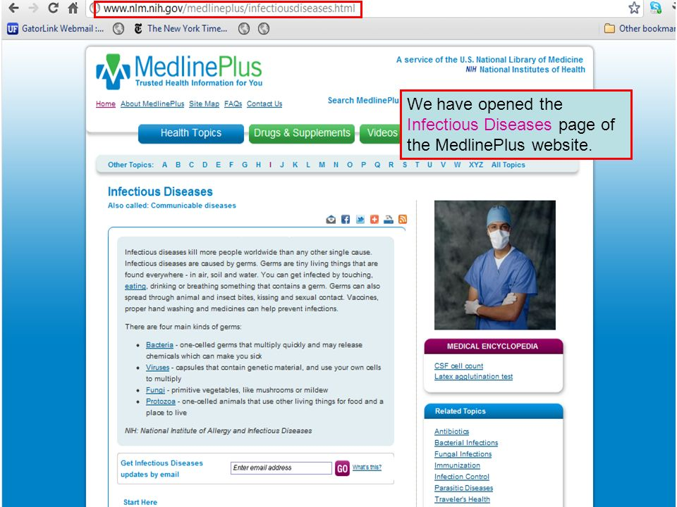 We have opened the Infectious Diseases page of the MedlinePlus website.