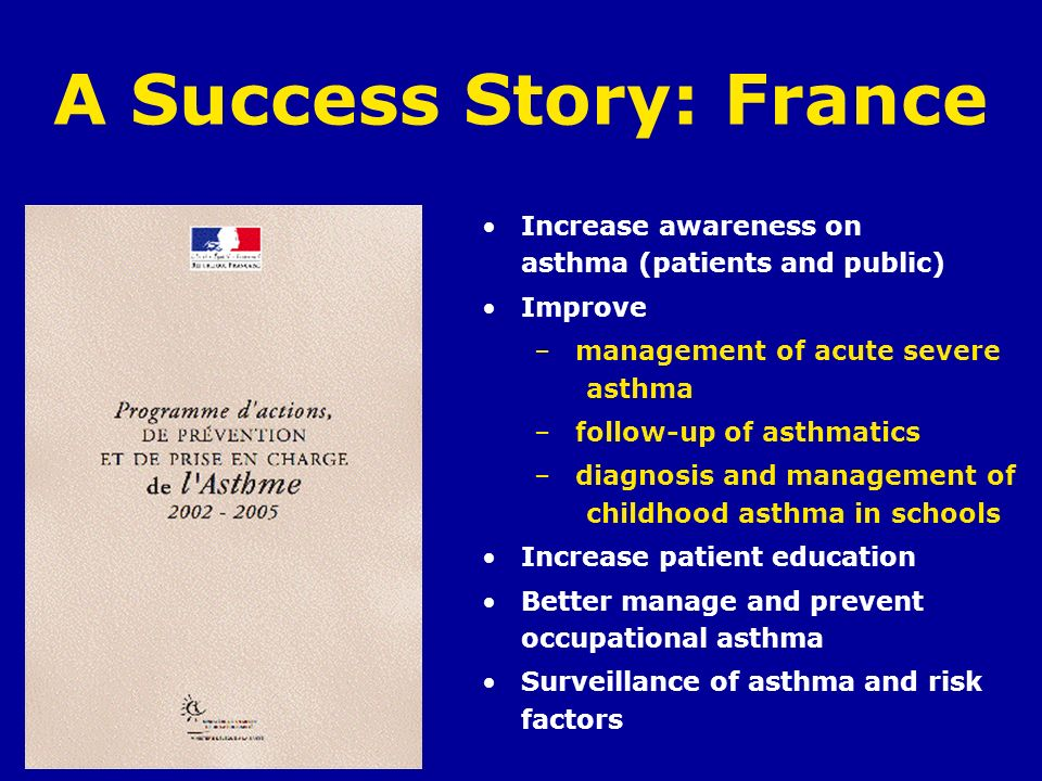 A Success Story: France Increase awareness on asthma (patients and public) Improve – management of acute severe asthma – follow-up of asthmatics – dia