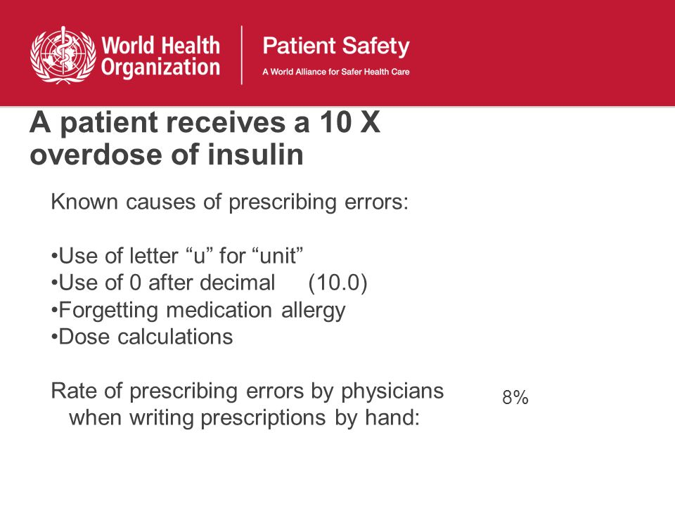 A patient receives a 10 X overdose of insulin Known causes of prescribing errors: Use of letter u for unit Use of 0 after decimal (10.0) Forgetting medication allergy Dose calculations Rate of prescribing errors by physicians when writing prescriptions by hand: 8%