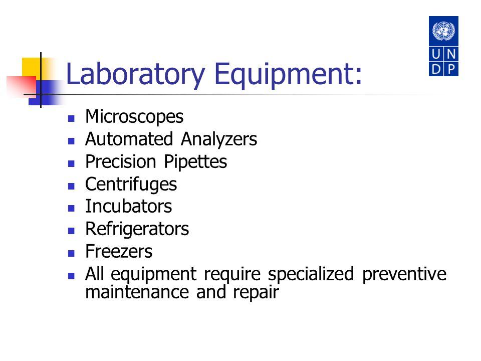 Laboratory Equipment: Microscopes Automated Analyzers Precision Pipettes Centrifuges Incubators Refrigerators Freezers All equipment require specializ