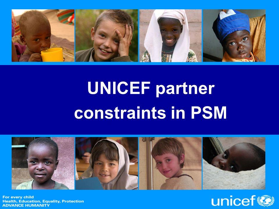 UNICEF partner constraints in PSM