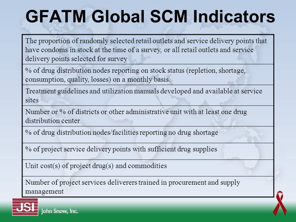 GFATM Global SCM Indicators The proportion of randomly selected retail outlets and service delivery points that have condoms in stock at the time of a