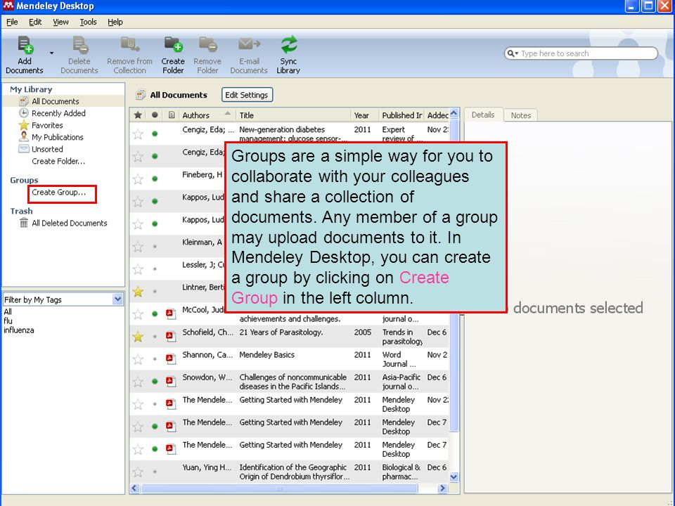 Groups are a simple way for you to collaborate with your colleagues and share a collection of documents. Any member of a group may upload documents to