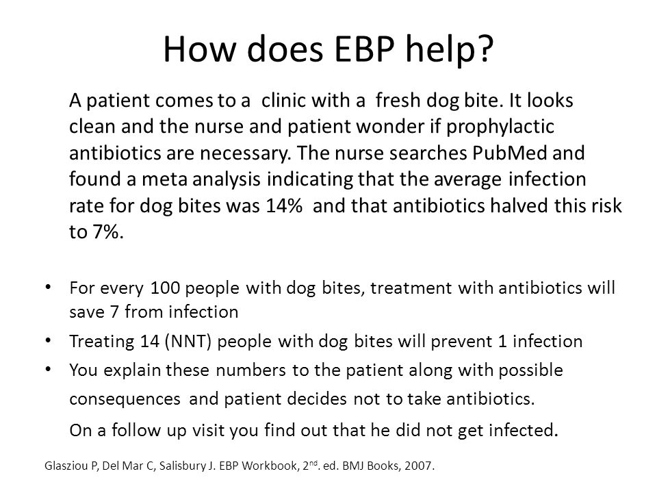 How does EBP help? A patient comes to a clinic with a fresh dog bite. It looks clean and the nurse and patient wonder if prophylactic antibiotics are