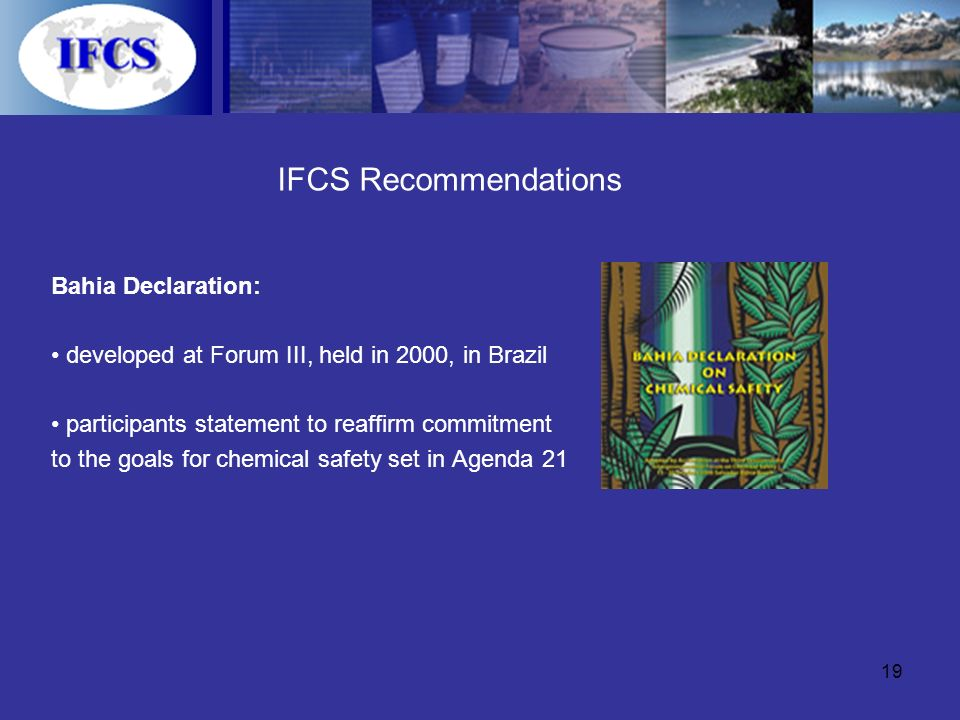 19 IFCS Recommendations Bahia Declaration: developed at Forum III, held in 2000, in Brazil participants statement to reaffirm commitment to the goals for chemical safety set in Agenda 21