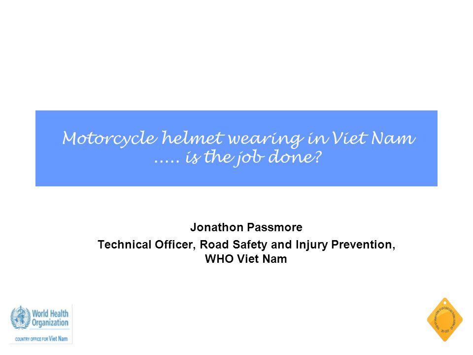 Motorcycle helmet wearing in Viet Nam..... is the job done.