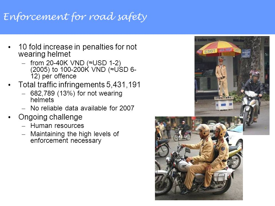 Enforcement for road safety 10 fold increase in penalties for not wearing helmet – from 20-40K VND (USD 1-2) (2005) to 100-200K VND (USD 6- 12) per offence Total traffic infringements 5,431,191 – 682,789 (13%) for not wearing helmets – No reliable data available for 2007 Ongoing challenge – Human resources – Maintaining the high levels of enforcement necessary