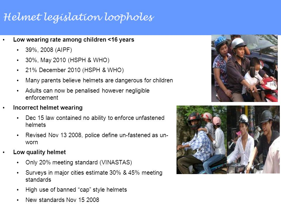 Helmet legislation loopholes Low wearing rate among children <16 years 39%, 2008 (AIPF) 30%, May 2010 (HSPH & WHO) 21% December 2010 (HSPH & WHO) Many parents believe helmets are dangerous for children Adults can now be penalised however negligible enforcement Incorrect helmet wearing Dec 15 law contained no ability to enforce unfastened helmets Revised Nov 13 2008, police define un-fastened as un- worn Low quality helmet Only 20% meeting standard (VINASTAS) Surveys in major cities estimate 30% & 45% meeting standards High use of banned cap style helmets New standards Nov 15 2008