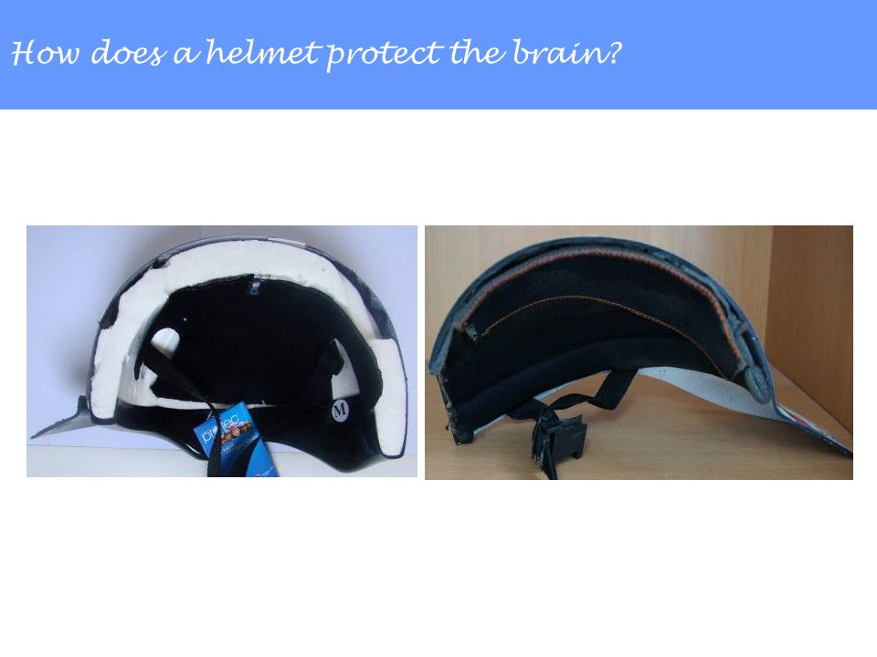 How does a helmet protect the brain