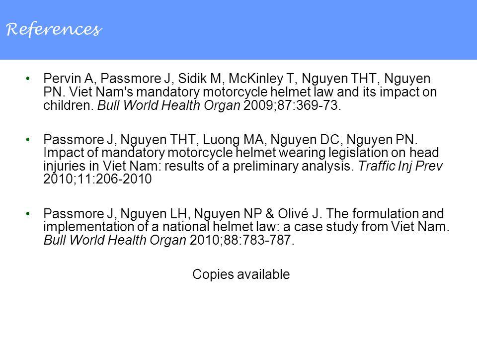 References Pervin A, Passmore J, Sidik M, McKinley T, Nguyen THT, Nguyen PN.