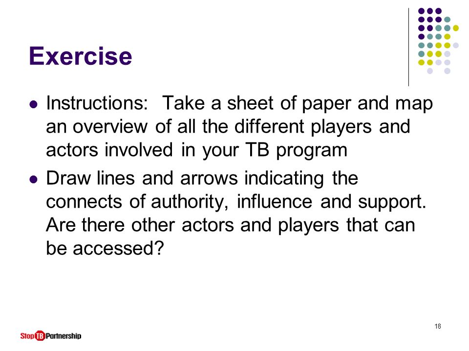 18 Exercise Instructions: Take a sheet of paper and map an overview of all the different players and actors involved in your TB program Draw lines and