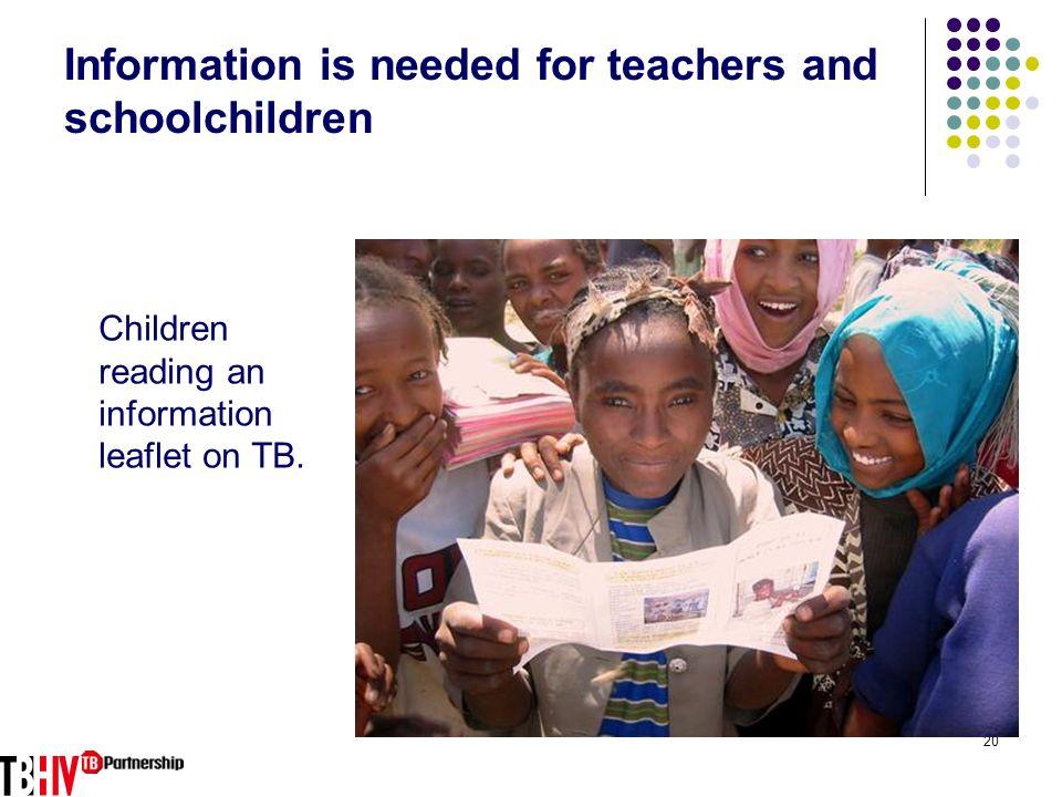20 Information is needed for teachers and schoolchildren Children reading an information leaflet on TB.