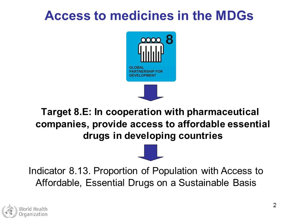 2 Target 8.E: In cooperation with pharmaceutical companies, provide access to affordable essential drugs in developing countries Indicator 8.13. Propo