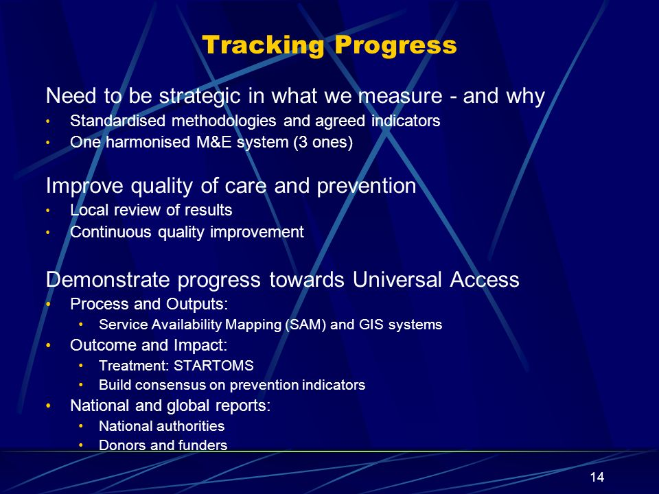 14 Tracking Progress Need to be strategic in what we measure - and why Standardised methodologies and agreed indicators One harmonised M&E system (3 o