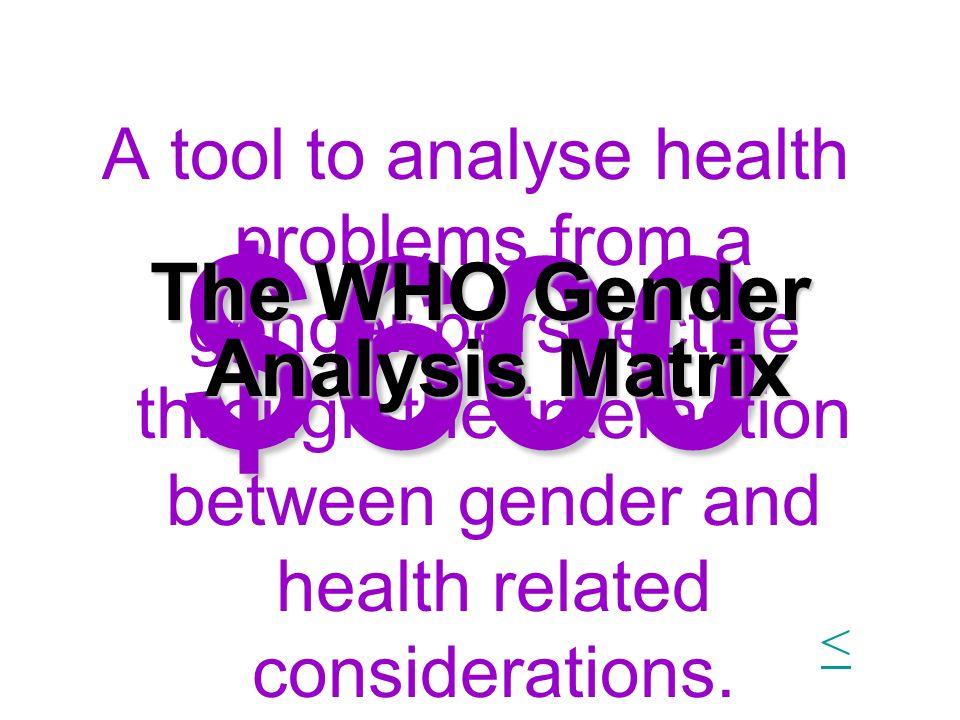 $600 A tool to analyse health problems from a gender perspective through the interaction between gender and health related considerations. The WHO Gen