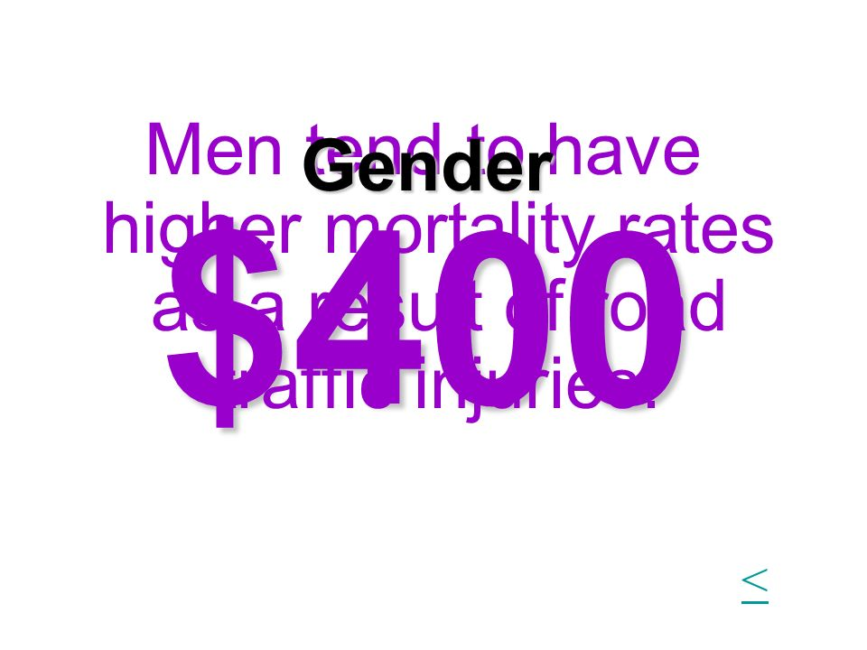 $400 Men tend to have higher mortality rates as a result of road traffic injuries. Gender <