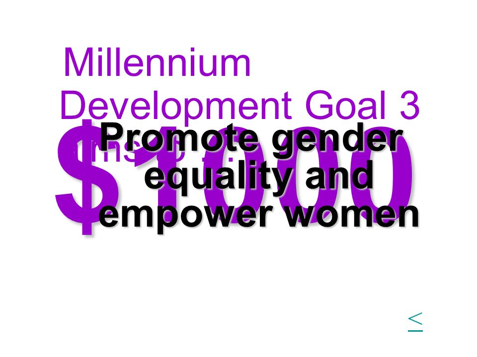 $1000 1Millennium Development Goal 3 aims to … Promote gender equality and empower women <