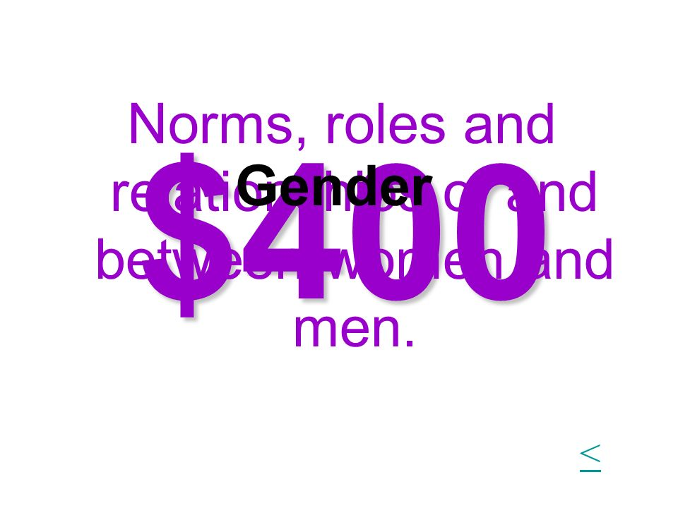 $400 Norms, roles and relationships of and between women and men. Gender <